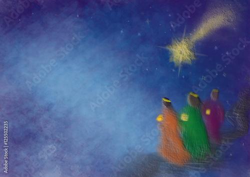 Fotografia Three kings or three wise men with Christmas star