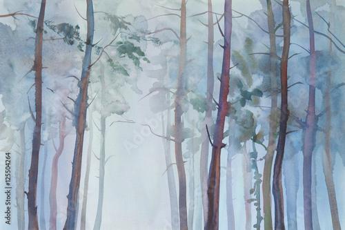 Mgłowy lasowy akwareli tło