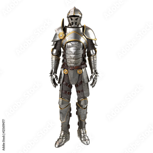 Canvas Print 3d illustration of a full suit of armor isolated on white background