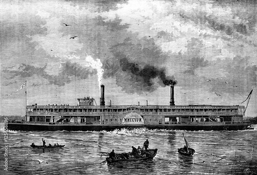 Photo Floating houses. The Steamship Russian MNCCYPN, vintage engravin