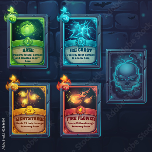 Canvas Print Set spell cards of nature, ice, fire, light
