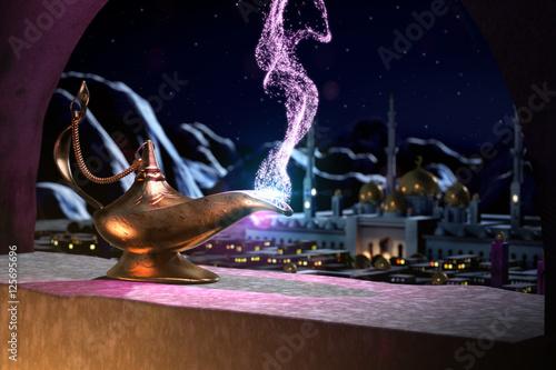 Wallpaper Mural 3D fairytale of magic lamp