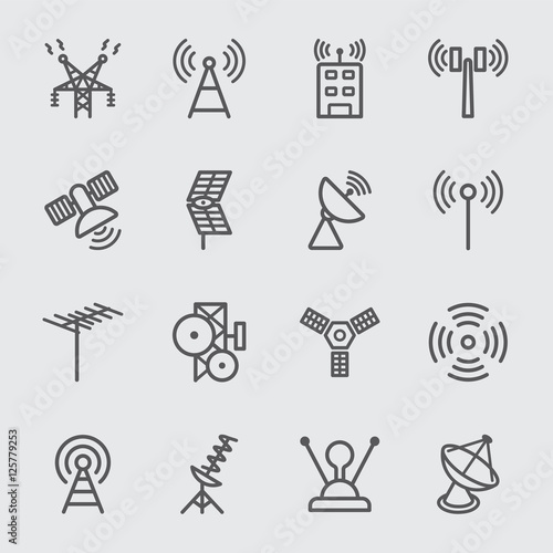 Antenna and Satellite line icon Fototapete