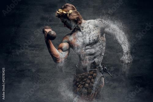 Canvas Print Ancient Greek male sportsmen holds dumbbell.