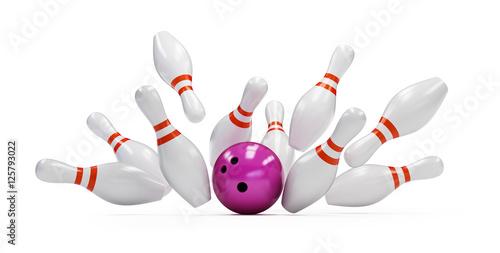 Leinwand Poster bowling strike on white background. 3d Illustrations