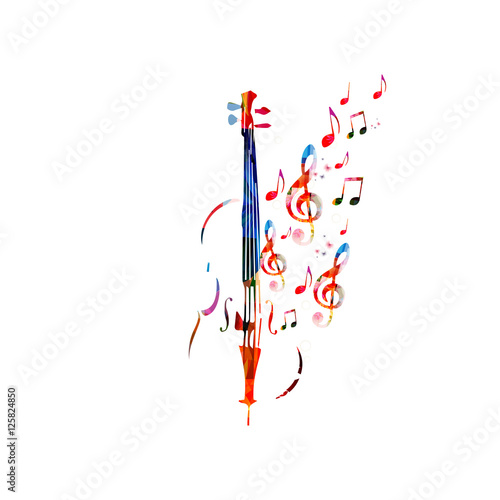 Leinwand Poster Colorful violoncello with music notes