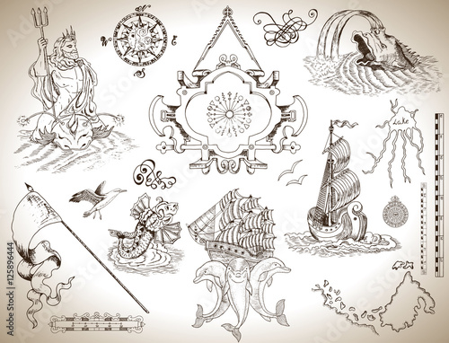 Set of vintage drawings with banner, old ship and sea symbols for maps, cards Fototapeta