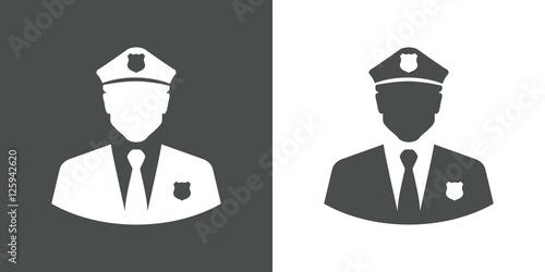 Obraz na płótnie Icono plano silueta policia gris