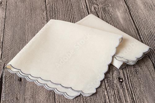 Fotografia Accessories.   Two handkerchiefs on gray wooden background.