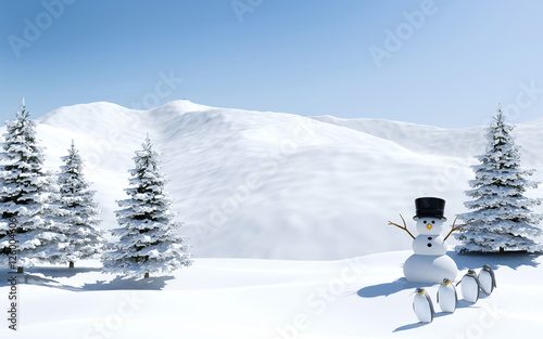 Fotografia Arctic landscape, snow field with snowman and penguin birds in Christmas holiday