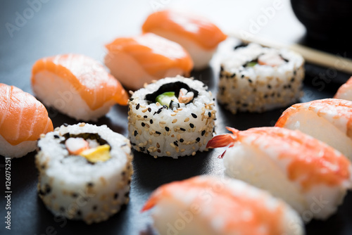 Fototapeta Sushi served on plate