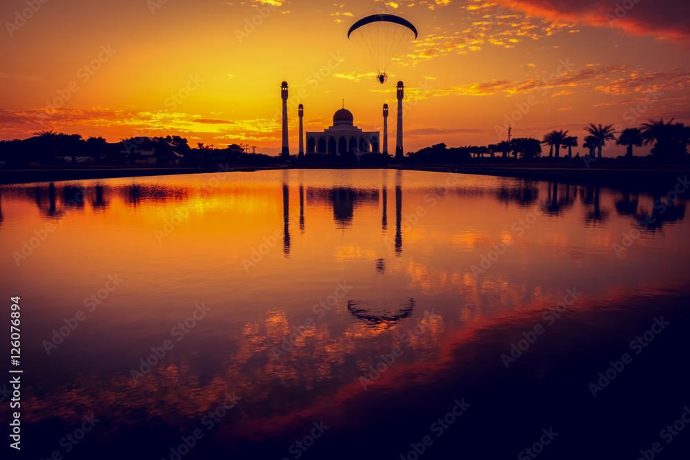 Fototapeta Meczet w czasie zachodu słońca
