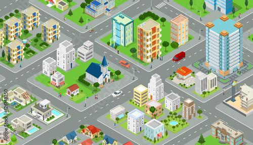 Foto Flat isometric city road model vector. 3d buildings architecture