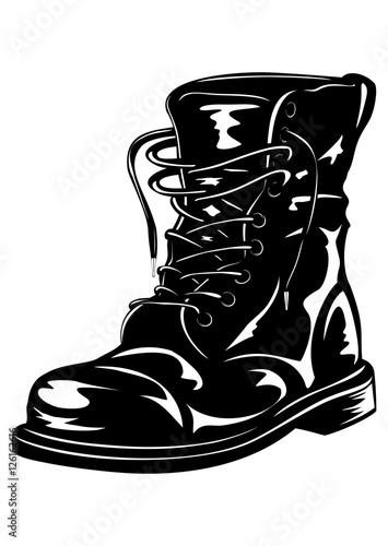 Canvastavla black army boot
