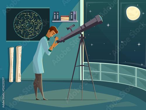 Leinwand Poster Astronomer With Telescope Retro Cartoon Poster
