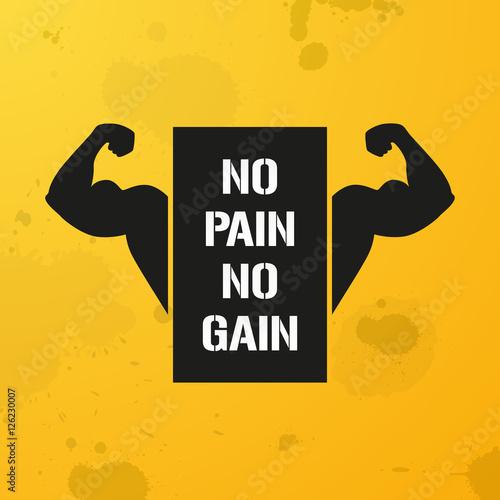 Fotografie, Obraz No Pain No Gain, banner, fitness motivation, vector background, bodybuilding, gy
