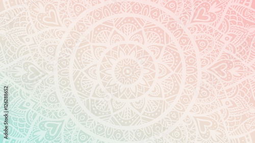 Dreamy gradient wallpaper with mandala pattern. Vector background for yoga, meditation poster.