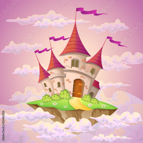 Fantasy flying island with fairy tale castle in clouds