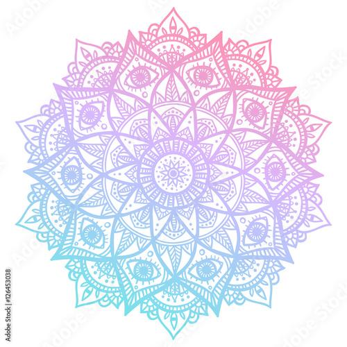 Fotografie, Obraz Colorful blue and pink flower mandala