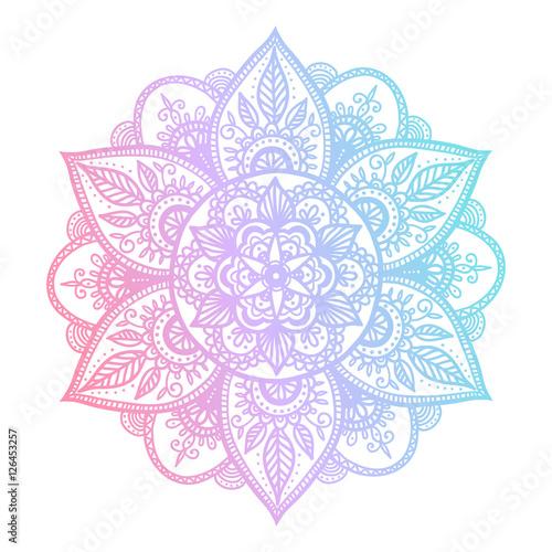 Ταπετσαρία τοιχογραφία Colorful blue and pink flower mandala