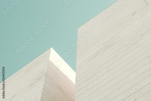Abstract architecture. Detail of a building facade made of stone blocks