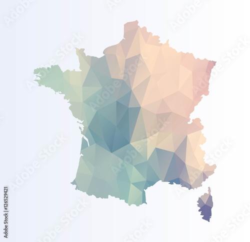 Obraz na płótnie Polygonal map of France