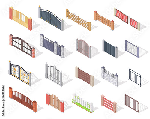 Fototapeta Set of Gates and Fences In Isometric Projection
