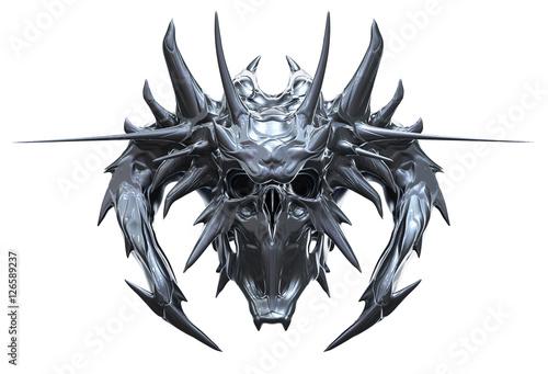 Metallic skull design isolated on white background Fototapeta
