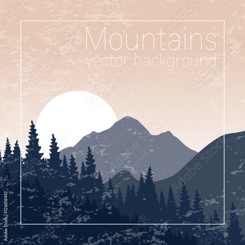 Mountains landscape. Textured nature background for card, banner, flyer and web design.Travel and hiking illustration.