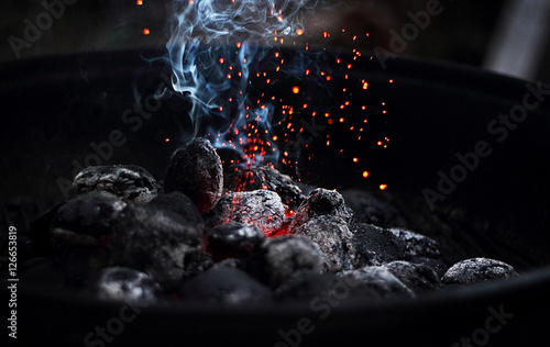 Slika na platnu Burning charcoal
