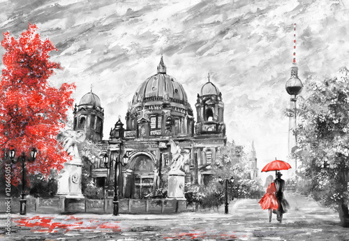 oil painting on canvas, street view of Berlin,  Artwork European landscape in black, white and red color. man and woman under umbrella. Trees, Cathedral, Tower