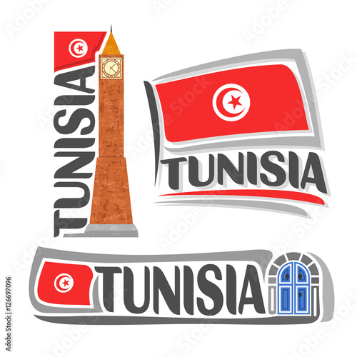 Obraz na plátně Vector logo Tunisia, 3 isolated illustrations: vertical banner clock tower on background national state flag, symbol of Tunisian Republic architecture and tunisia flags beside traditional blue doors