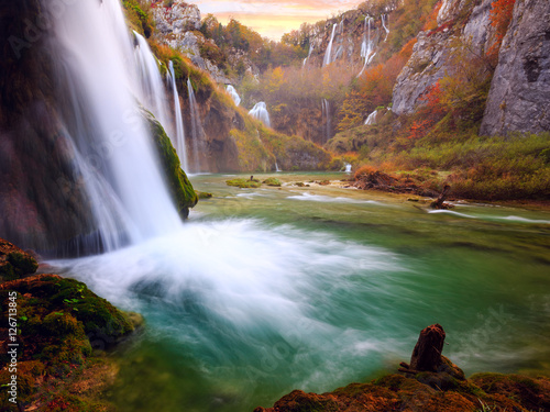 Beautiful waterfall at Plitvice National Park