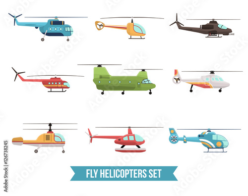 Fotografie, Obraz Flying Helicopters Set