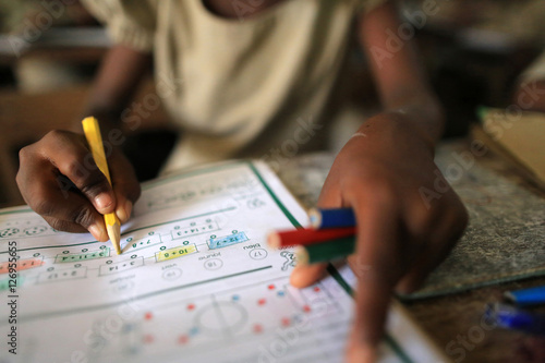 Schoolchildren. Primary School Adjallé. Lomé. Togo. / Cours de mathématiques. Etablissement scolaire. Lomé. Togo.