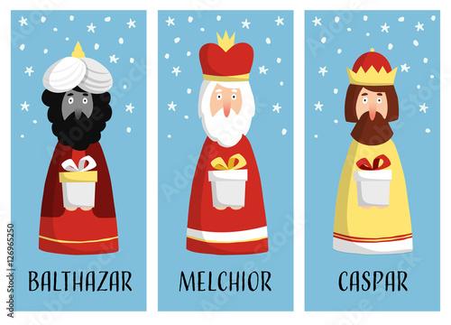Cute set of Christmas greeting cards, gift tags with three magi Fototapeta