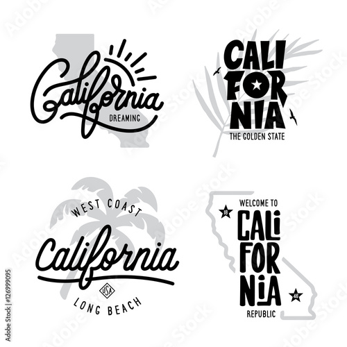 California related t-shirt vintage style graphics set Fototapeta