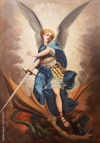 Foto TEL AVIV, ISRAEL - MARCH 2, 2015: The paint of archangel Michael from st