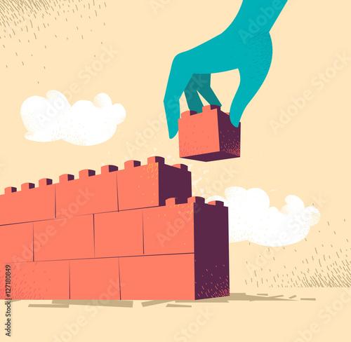 Fotografia Innalzare un muro