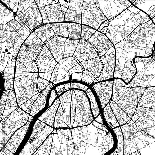 Obraz na plátně Moscow, Capital of Russia, Monochrome Map Artprint