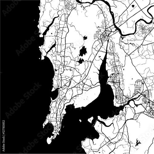 Obraz na plátně Mumbai, India, Monochrome Map Artprint
