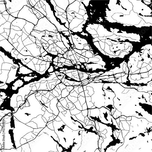 Canvas Print Stockholm, Sweden, Monochrome Map Artprint
