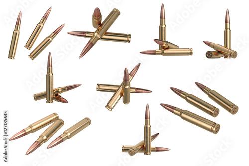 Obraz na płótnie Bullet rifle metal ammo set. 3D graphic