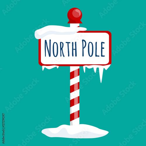 Fotografie, Obraz christmas icon north pole sign with snow and ice, winter holiday xmas symbol, ca