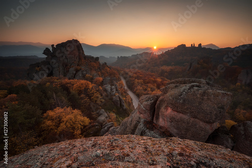 Magnificent sunset view of the Belogradchik rocks, Bulgaria