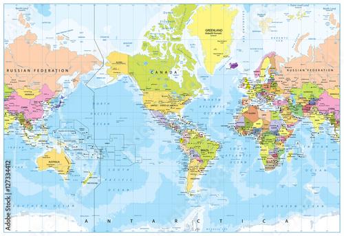 World Map - America in center - Bathymetry Fototapeta
