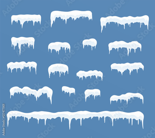 Canvas Print Ice caps set. Snowdrifts, icicles, elements winter decor.
