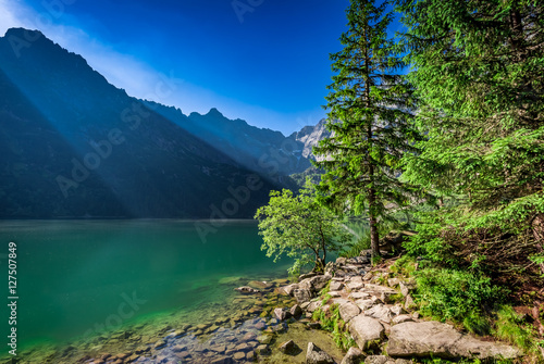 Wonderful lake in the mountains at dawn in Poland