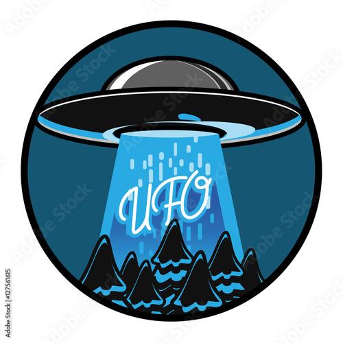 Canvas Print Color vintage ufo emblem
