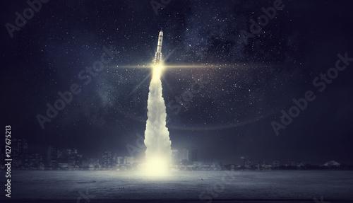 Fotografia Space exploration background . Mixed media